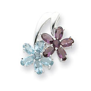 Sterling Silver Blue & Purple CZ Floral Pendant