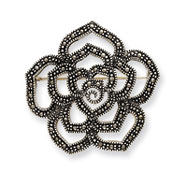 Sterling Silver Marcasite Rose Pin