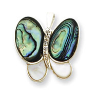 Sterling Silver CZ Mother Of Pearl & Abalone Pin