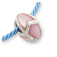 Sterling Silver Pink Mother Of Pearl Easter Egg Pendant