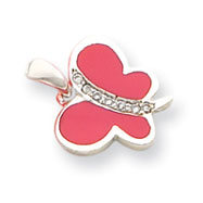 Sterling Silver CZ And Pink Enameled Butterfly Pendant