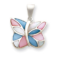 Sterling Silver Pink And Blue Shell Butterfly Pendant