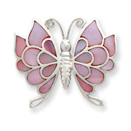 Sterling Silver Pink Shell Butterfly Slide
