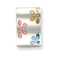 Sterling Silver Pink, Blue And Yellow Shell Flowers Slide