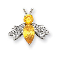 Sterling Silver Yellow And Clear CZ Pendant Slide