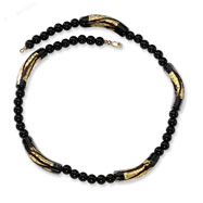 14K Gold Murano Glass Bead & 6.00mm Onyx Necklace