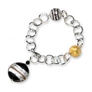 Sterling Silver Murano Glass Bead & Onyx Bracelet