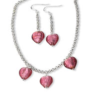Sterling Silver Pink Murano Glass Heart Earrings And Necklace Set