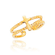 14K Gold Cross Toe Ring