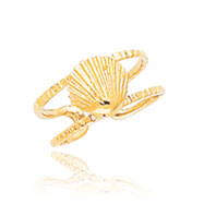14K Gold Sea Shell Toe Ring