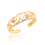 14K Gold .02ct Diamond Scroll Toe Ring