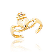 14K Gold AA Diamond Claddagh Toe Ring