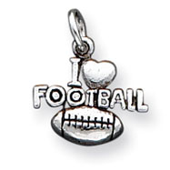 Sterling Silver Antique I Heart Football Charm