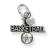 Sterling Silver Antique I Heart Basketball Charm