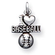 Sterling Silver Antique I Heart Baseball Charm