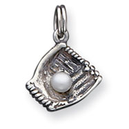 Sterling Silver Baseball Glove With Pearl Charm