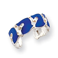 Sterling Silver Blue Enameled Dolphin Toe Ring