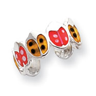 Sterling Silver Red & Orange Enameled Ladybug Toe Ring
