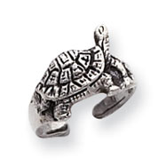 Sterling Silver Antiqued Turtle Toe Ring