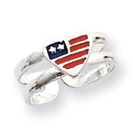 Sterling Silver Enameled Flag Heart Toe Ring