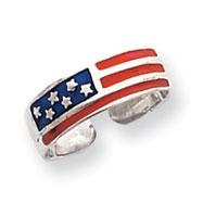 Sterling Silver Enameled Flag Toe Ring