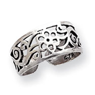 Sterling Silver Antiqued Floral Toe Ring