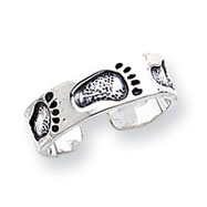 Sterling Silver Antiqued Feet Toe Ring