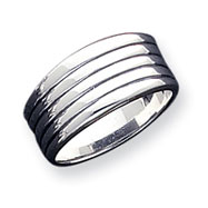 Sterling Silver Antiqued Ribbed Ring
