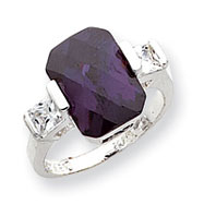 Sterling Silver Purple And Clear CZ Ring