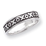 Sterling Silver Antiqued X & O Ring