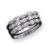 Sterling Silver 3 Piece CZ Ring