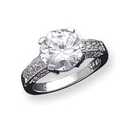 Sterling Silver 10mm Round CZ Ring