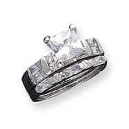 Sterling Silver CZ 2 Piece Wedding Set Ring