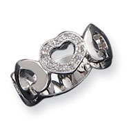 Sterling Silver CZ Hearts Ring