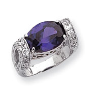 Sterling Silver Amethyst Color CZ Fancy Ring