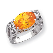 Sterling Silver Yellow Color CZ Ring