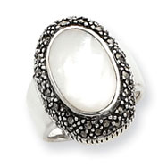 Sterling Silver Marcasite And Mother of Pearl Ring