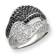 Sterling Silver Black & White CZ Wave Ring