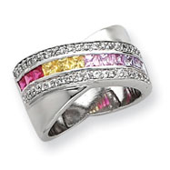 Sterling Silver Multicolored Lane CZ Ring