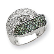 Sterling Silver Green & White CZ Ring