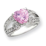 Sterling Silver 10mm Pink And Clear CZ Heart Ring