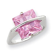 Sterling Silver 11mm Pink CZ Ring