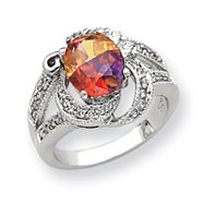 Sterling Silver 8x10mm Multicolored And Clear CZ Ring
