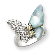 Sterling Silver CZ & Mother Of Pearl Butterfly Ring