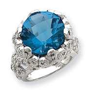 Sterling Silver Blue Round CZ Ring
