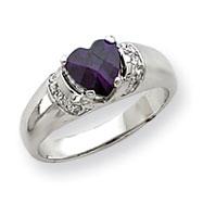 Sterling Silver Heart Purple CZ Ring