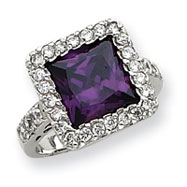 Sterling Silver Purple Square CZ Ring