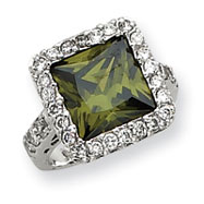 Sterling Silver Olive Square CZ Ring