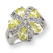 Sterling Silver Light Green And Clear CZ Flower Ring