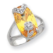 Sterling Silver Yellow & Clear CZ Ring